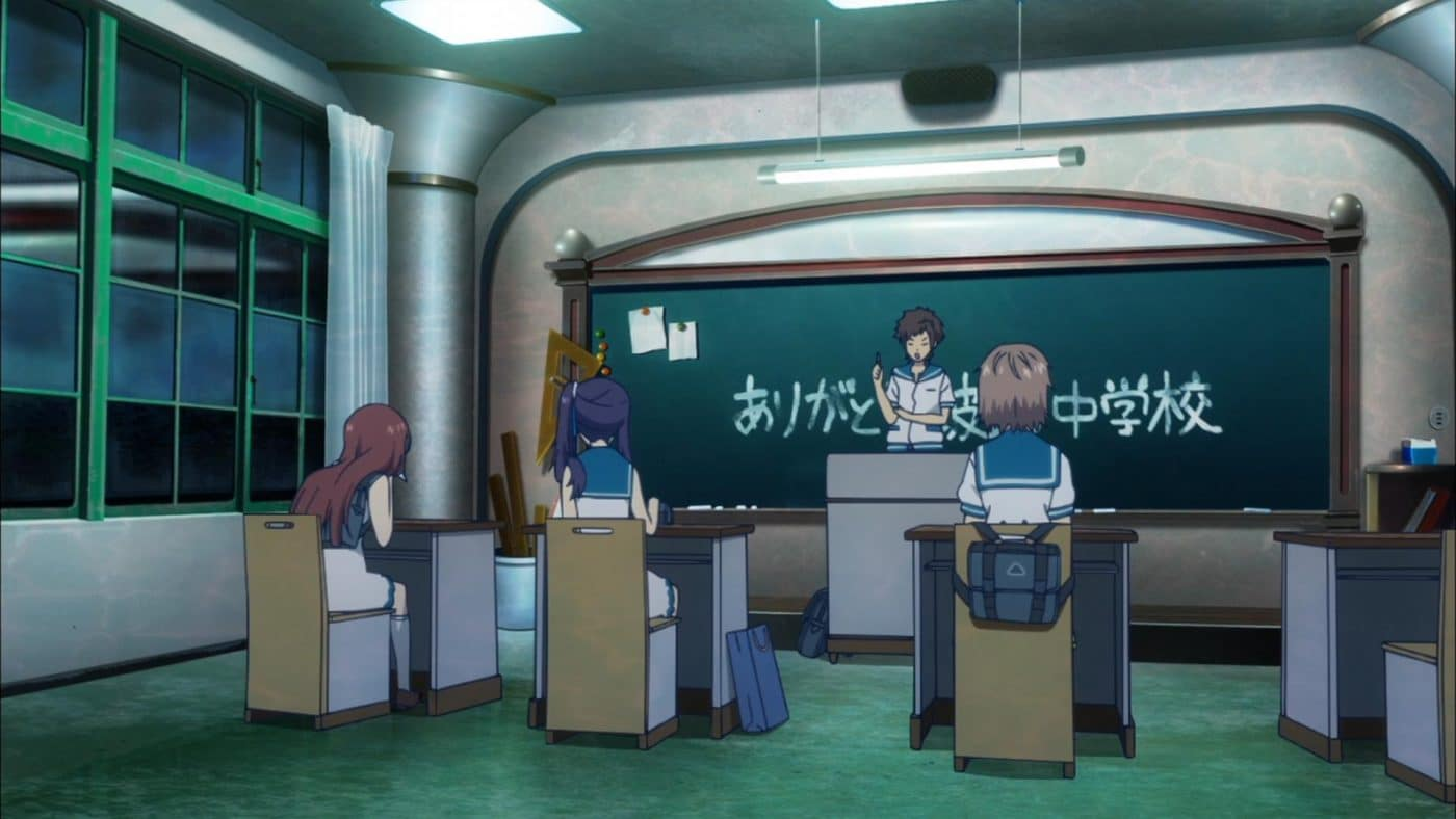 Hikari acts the teacher in old classroom