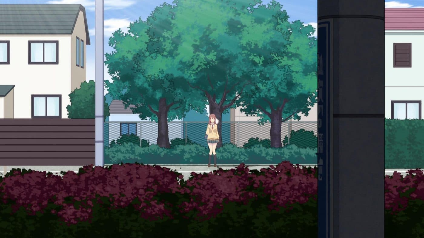 Haruka waits patiently for Yuu in front of a tree